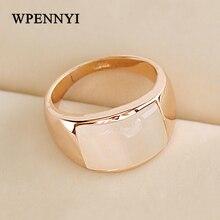 Розовое золото цвет высокое качество прямоугольник опалы камень ретро трендсеттер для женщин палец кольца рождественские подарки оптом аксессуар