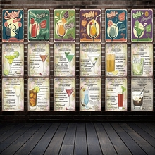 [ Mike86 ] A wide variety of Cocktail Style Metal Plate Hawaii Wall Posters Vintage Tin Sign Antique Souvenirs Festival Gift DD1