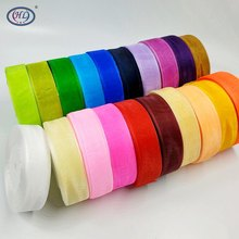 HL 25MM Width 50Yards Lots Colors Choose Transparent Organza Ribbon Weaving Decorations DIY Crafts Gift Box Wrap Belt A045(China)