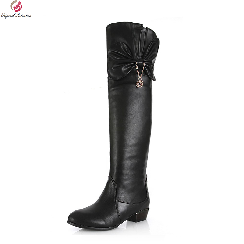 Original Intention High-quality Women Over the Knee Boots Round Toe Square Heels Boots Fashion Black Shoes Woman US Size 3.5-13 original intention high quality women knee high boots nice pointed toe thin heels boots popular black shoes woman us size 4 10 5