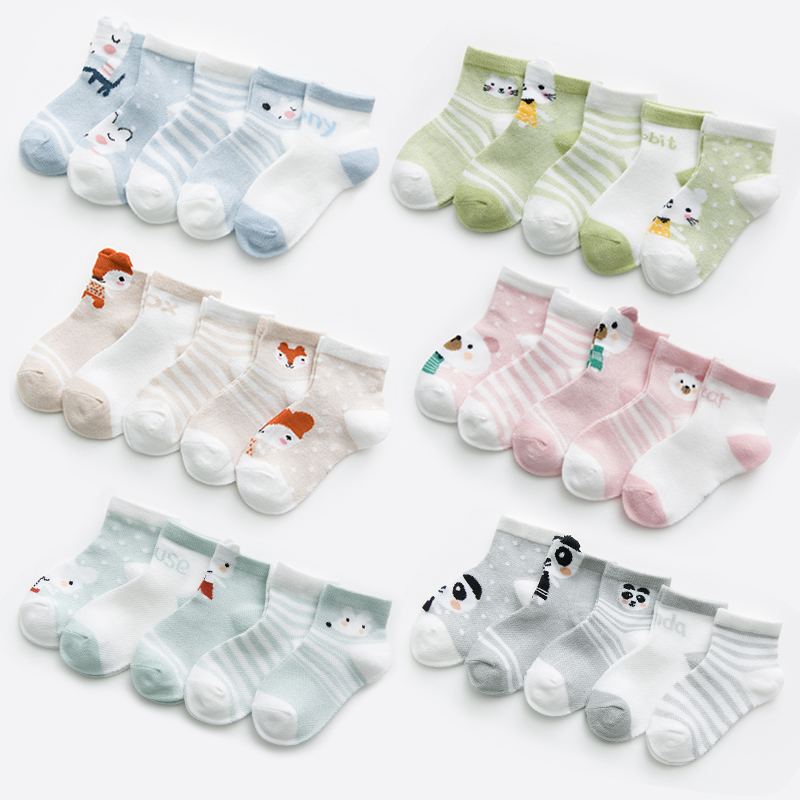 5pairs/pack Baby Toddler Sock Fox Pattern 0-24M Mesh Cotton Summer Socks For Newborns  Girl  Babies    Boys