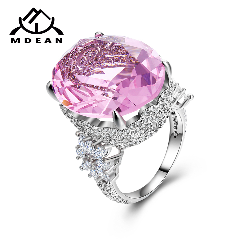 MDEAN Pink Stone White Gold Color Wedding Rings For Women Engagement Big AAA Zircon Jewelry Ring Fashion Bague  Valentine's Gift