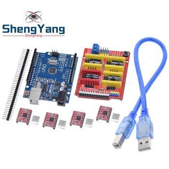 Tarcza cnc V3 grawerowanie 3D Printe + 4 sztuk A4988 karta rozszerzenia sterownika dla Arduino + UNO R3 z kablem USB tanie i dobre opinie Nowy Electronic products Komputer -40-+85 DIY KIT For Arduino STM