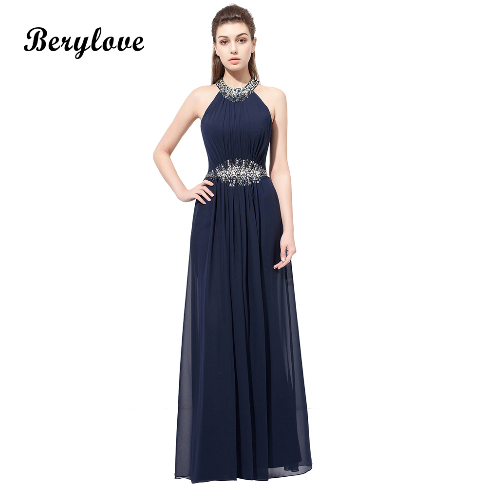 BeryLove Simple Beaded Navy Blue Evening Dresses 2018 Long Halter ...