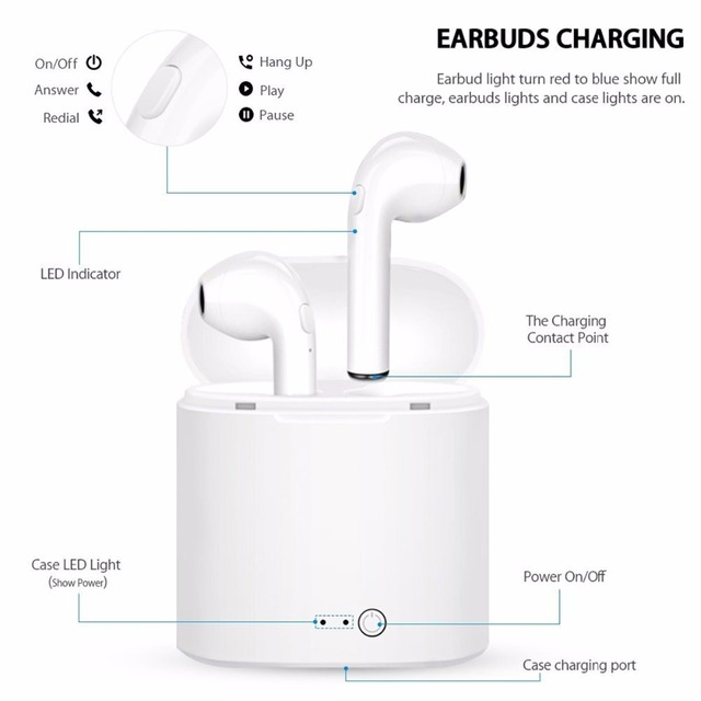 Free Shipping High Quality Bluetooth Headphone Earbuds Wireless Bluetooth Double Earphones Twins Earpieces Stereo Music Headset