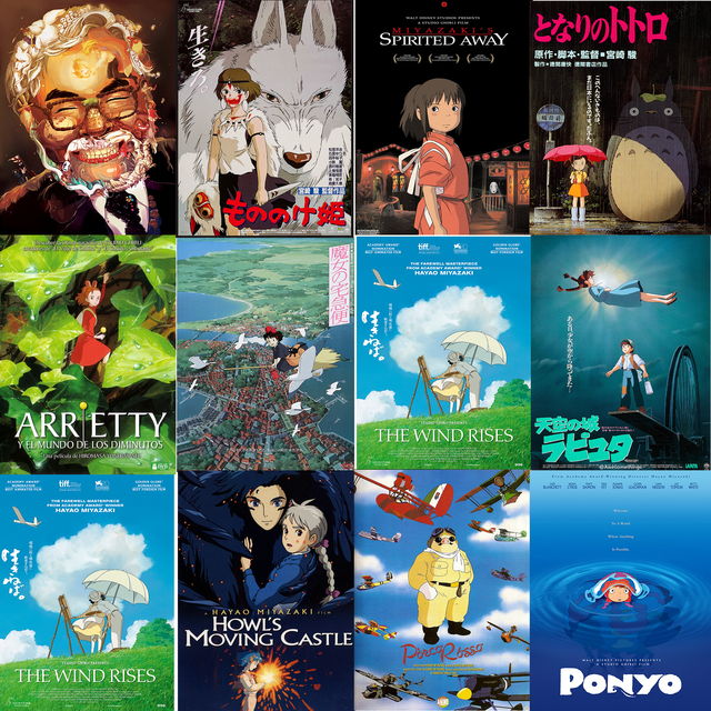 Miyazaki Hayao Collection Posters Anime Wall Stickers Home
