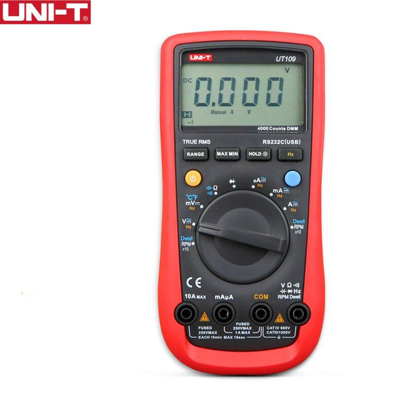 UNI-T UT109 Polyvalent De Poche Automobile Mètres Auto Multimètres De Gamme USB PC Connecter Vit Tachymètre LCD Rétro-Éclairage