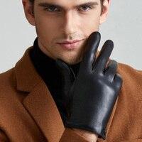 Men S Fashion Genuine Leather Gloves Thin Thick Plush Winter Warm Sheepskin Full Finger Touch Screen