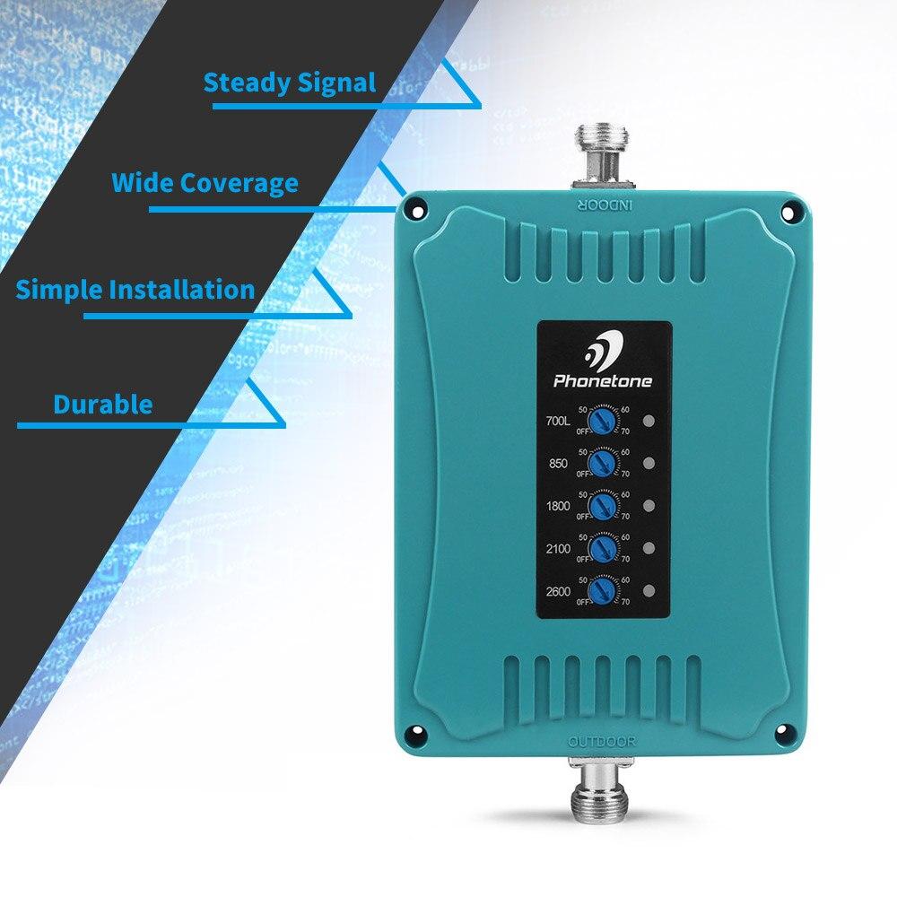 4g ripetitore del segnale del ripetitore cellulare Amplificatore di Segnale 3G 850/LTE 700/4G 1800/UMTS 2100/2600 MHz 2G 3G 4G Cinque Band Telefono Cellulare Ripetitore