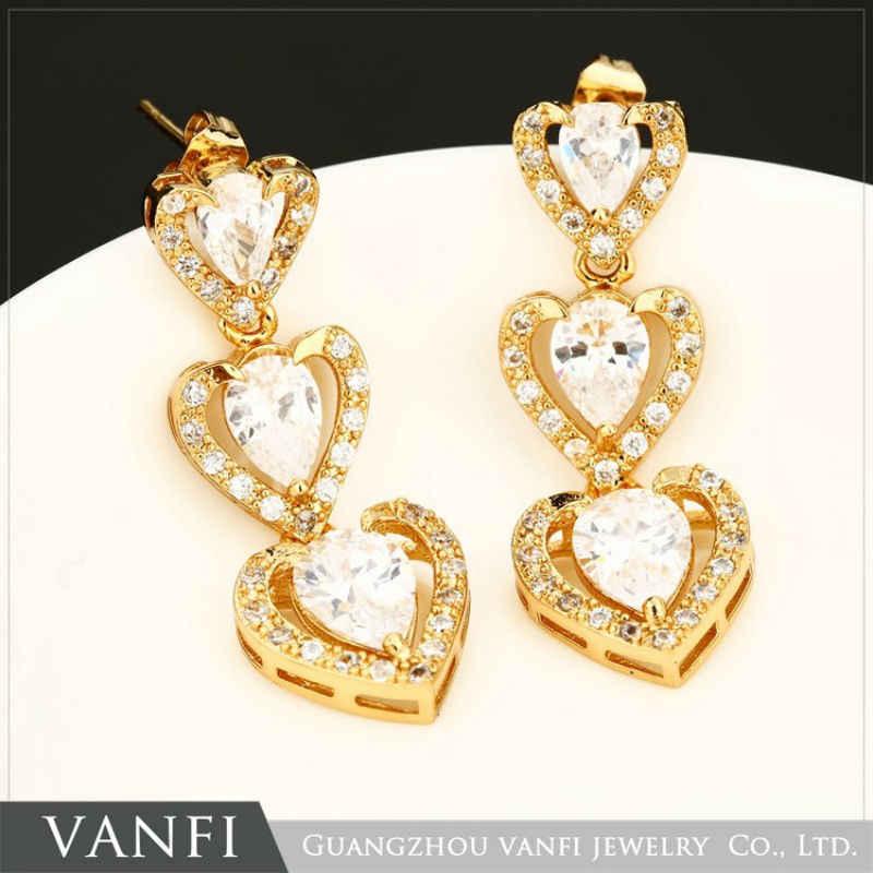 เครื่องประดับจัดงานแต่งงานตั้งแฟชั่นรูปหัวใจสีขาว/สีทองหรูหราทองแดงสีขาว/สีแดงหินสร้อยคอต่างหูแหวนผู้หญิงเครื่องประดับ