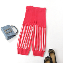 Coloured fringed pleated pants seven-minute trousers bloomers summer MIYAKE PLEATS free shipping
