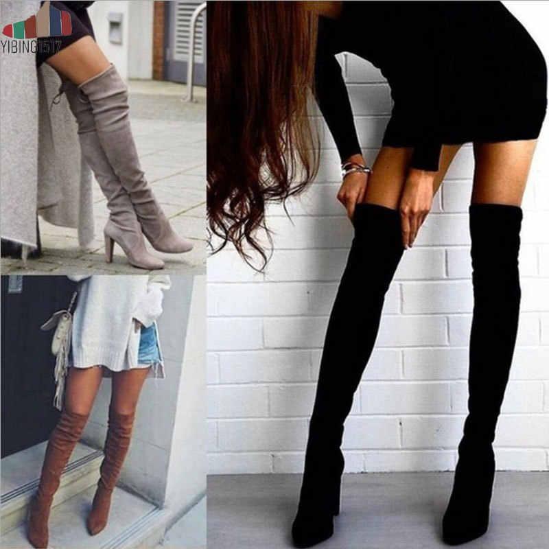 YIBING1517 2019 Seksi Parti Botları Moda Süet deri ayakkabı Kadın Diz Topuklu Çizmeler Streç Akın Kış Yüksek botas