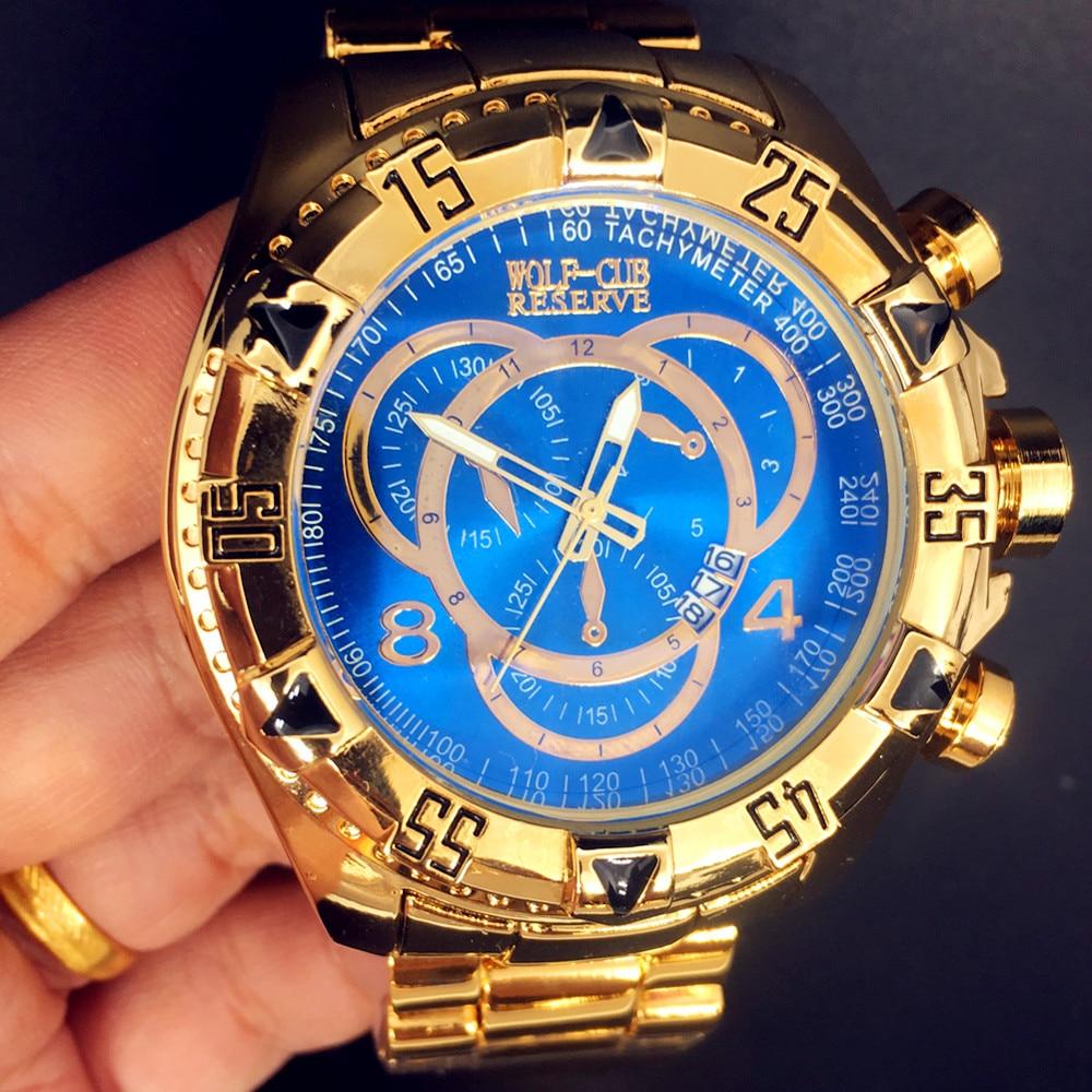 WOLF-CUB Relogio Masculino Mens Fashion Creative Big Dial Watch Luxury Gold Steel Quartz Wristwatches Waterproof Male De Luxo