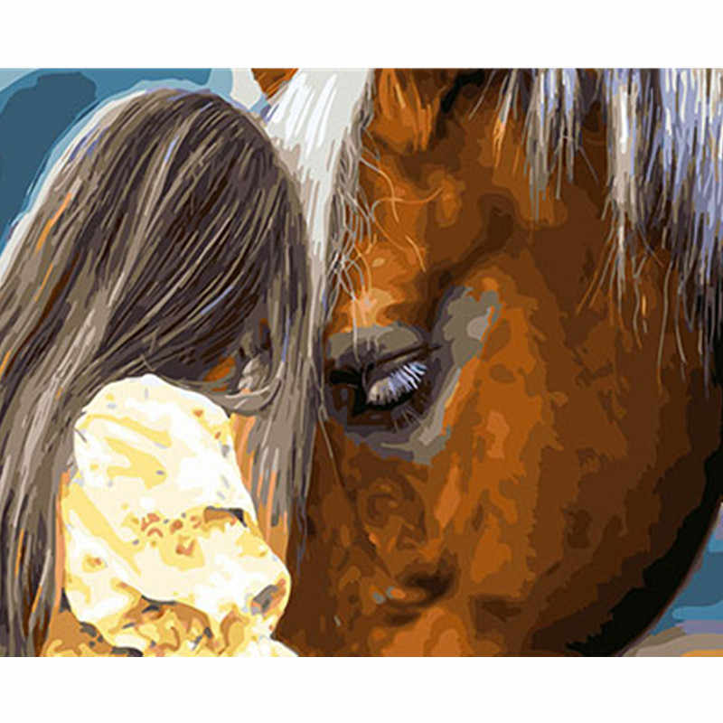 Horse And Girl Framed Pictures DIY Painting By Numbers DIY Oil Painting On Canvas Home Decoration Wall Art GX26172 40X50CM