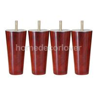 4Pcs 5inch Height Cone Shape Eucalyptus Solid Wood Furniture Sofa Legs Red