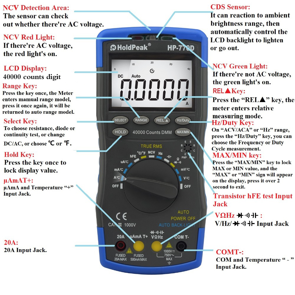 Digital Multimeter True RMS HP-770D Multimetro Auto Range  Frequency/ Temperature test and Carry Bag uni t ut70b lcd digital multimeter auto range frequency conductance logic test transistor temperature analog display