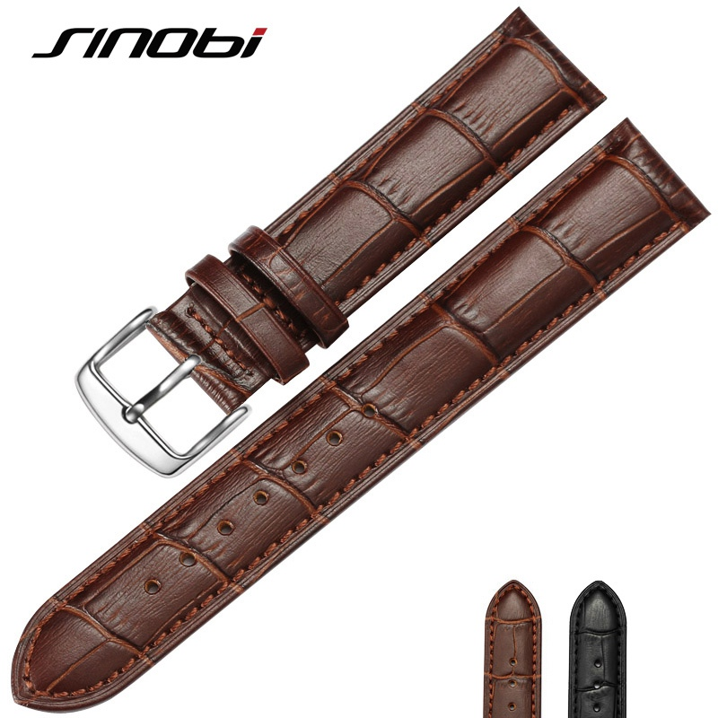 SINOBI Genuine Leather Watchband 20mm 22mm New Replacement Strap Sweatband Band For Men Women Watch Durable Watches Accessories jansin 22mm watchband for garmin fenix 5 easy fit silicone replacement band sports silicone wristband for forerunner 935 gps
