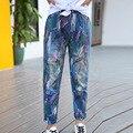 Девушки брюки 2017 Весна Осень мода печати джинсы случайные дети джинсы девушки брюки карандаш брюки 4-13 лет дети pantalon