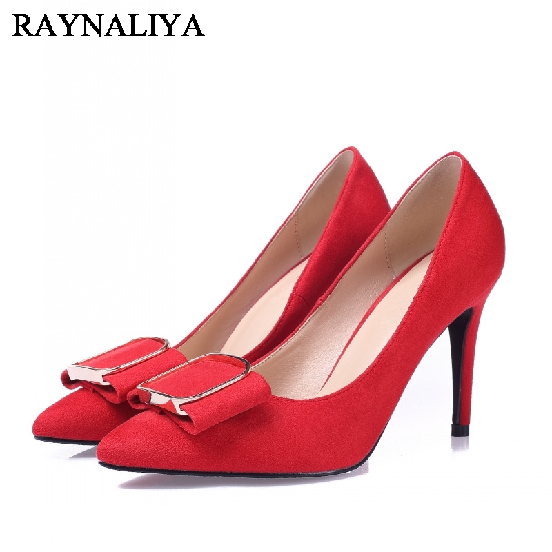New Woman Pumps Wedding Shoes Fashion Sexy Classic Red High Heels Pointed Toe Genuine Leather Sweet Party Dress Shoes BLY-A0022 fashion genuine leather shoes woman pumps 2016 new sexy wedges high heels round toe lace up women casual party shoes size 34 39