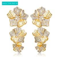 MECHOSEN Magnificent Drop Earrings Exquisite Sculpture Flower Layers 2 Tones Brass Full Cubic Zirconia Celebrity Banquet Jewelry