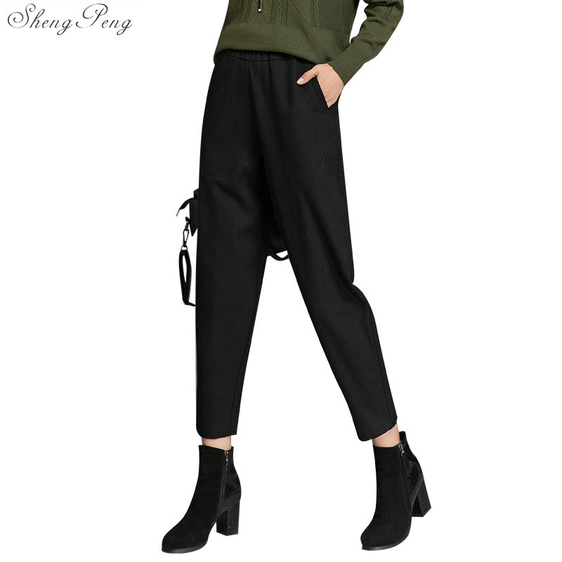 new autumn and winter woolen large size casual nine   pants   2018 fashion high waist   wide     leg     pants   straight tube   pants   tide V1169
