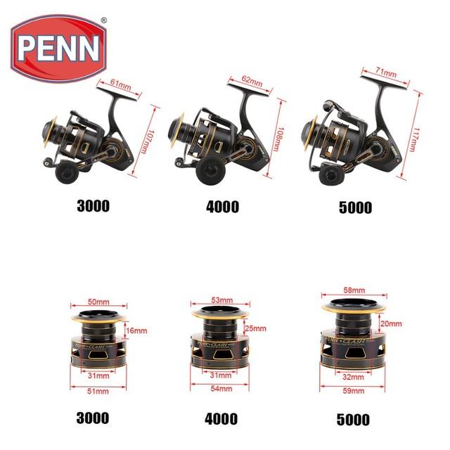 2016 Original Penn Clash CLA2000-8000 Spinning Fishing Reel 8+1BB Full Metal Body Saltwater HT-100 Bass Carp Fihsing wheel