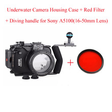 40m/130ft Underwater Camera Housing Case for Sony A5100 (16-50mm Lens),Waterproof Camera Bags Case + Diving handle + Red Filter