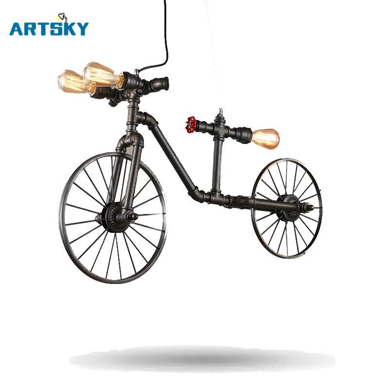 2016 Vintage Retro Pendant <font><b>Lights</b></font> Bicycle Lamps Cafe Bedroom Hose Lamp Restaurant Bar Industrial Wind Creative Individual Bike