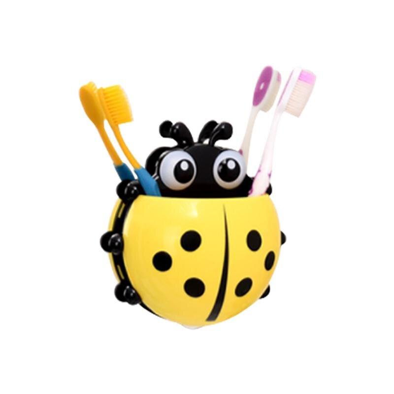 Toothpaste Holder Ladybug Designed Sets Cartoon Wall Suction Sucker Hook Toothbrush Holder Yellow