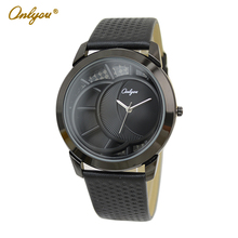 Onlyou Brand Fashion Casual Quartz Watch Women Men Genuine Leather Watch Black Wristwatches Ladies Dress Watch