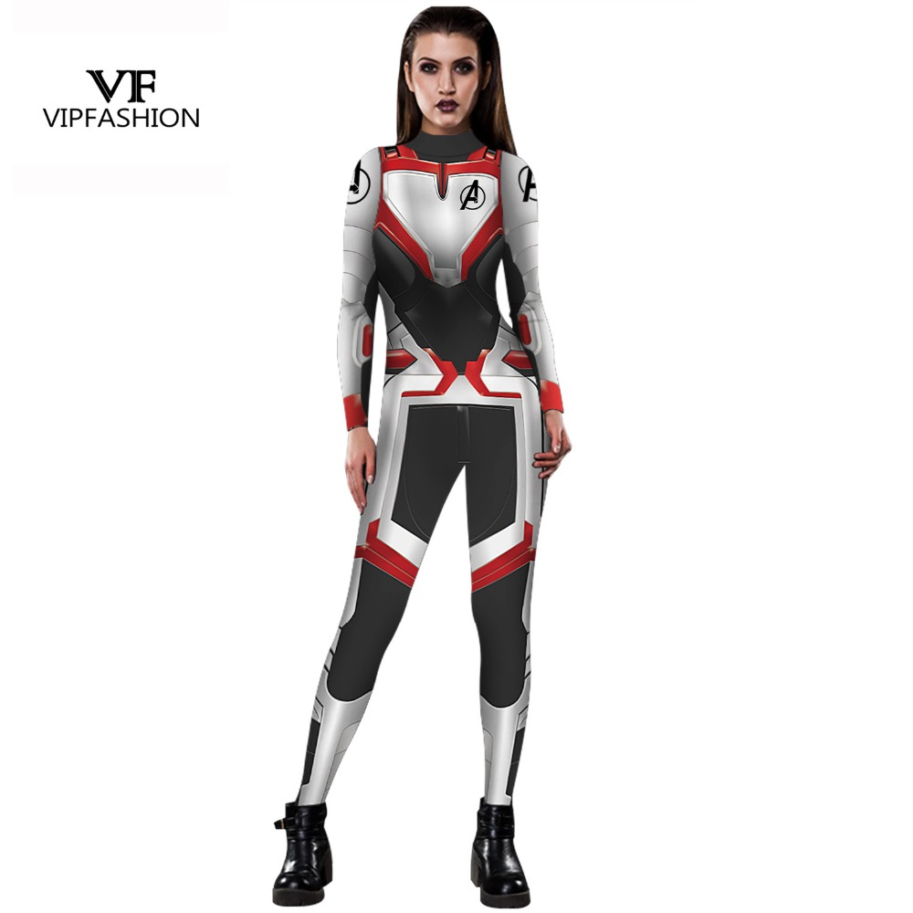 VIP FASHION High Quality Women Girls The Avengers 4 Endgame Quantum Realm Superhero Marvel Cosplay Costume Superhero Jumpsuits