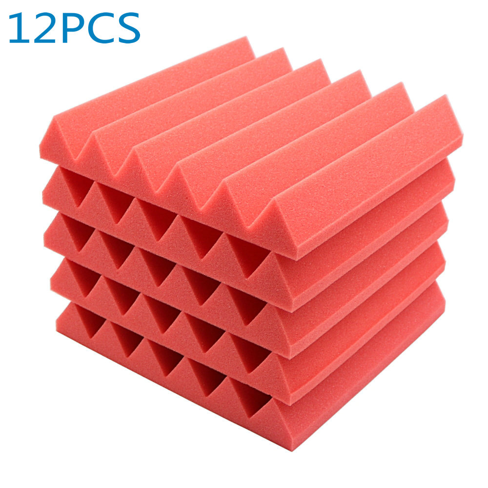 12pcs Red Acoustic Soundproof Sound Stop Absorption Wedge Studio Foam 12x12x2