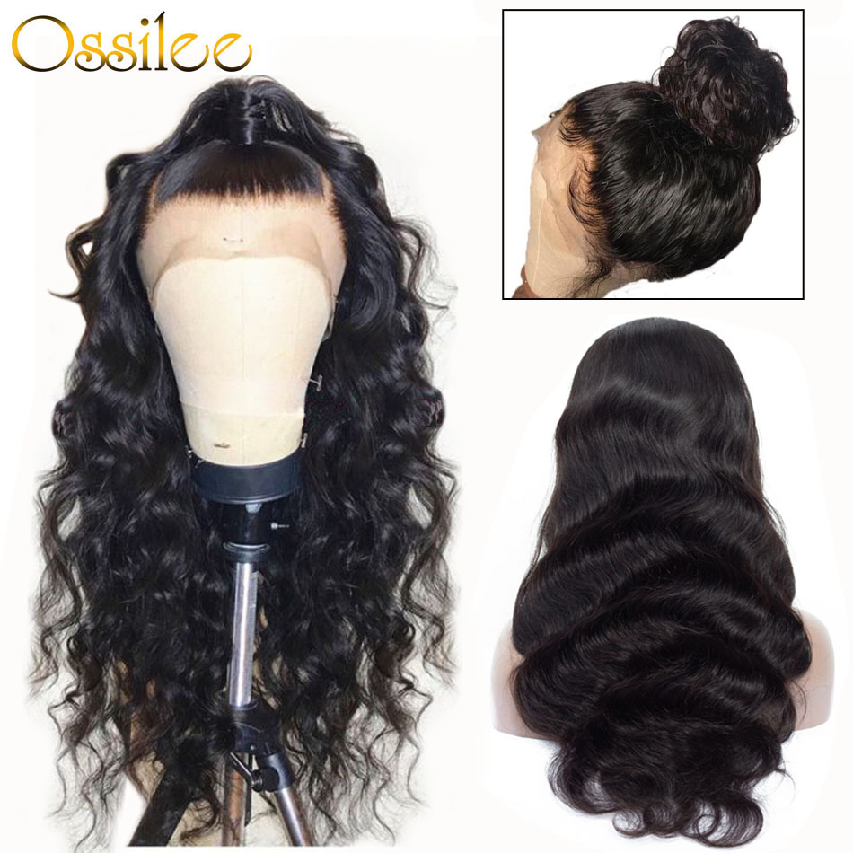 360 spitze Frontal Perücke Pre Gezupft Mit Baby Haar Brasilianische Körper Welle Menschliches Haar Perücken Ossilee Remy Haar Spitze Vorne perücken