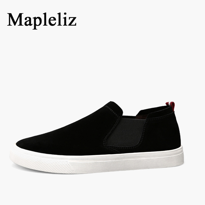 Mapleliz Brand Men Loafers Black Genuine Cow Leather Causal Shoes High Quality Classics Men Flats Leisure Light Shoes for Men