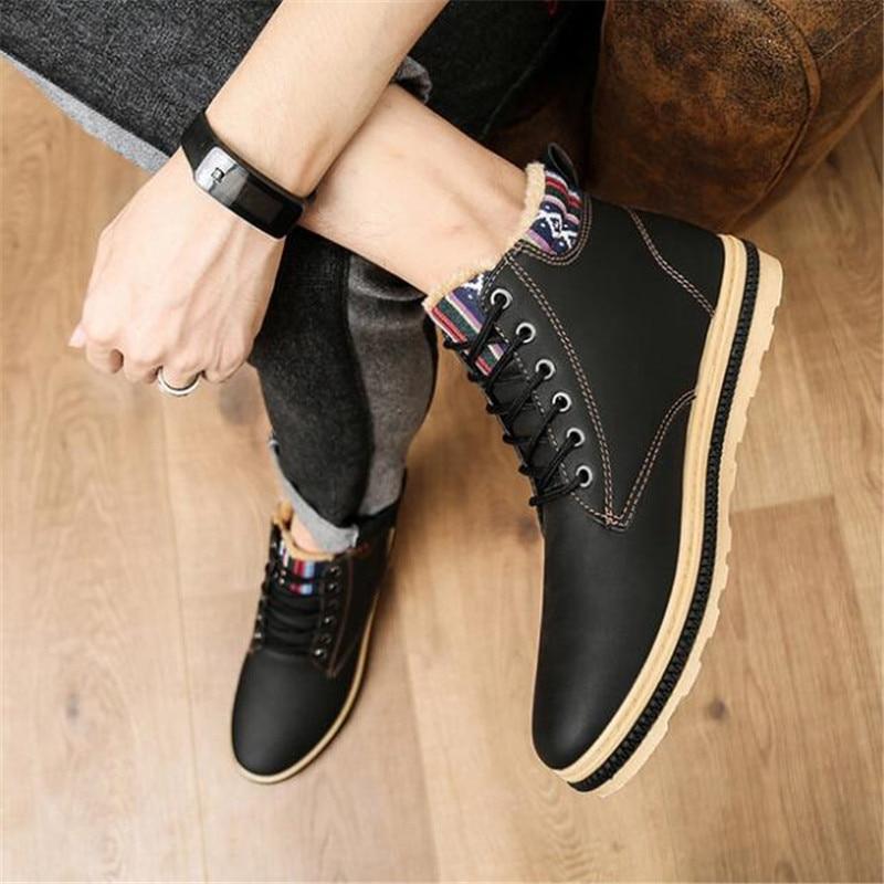 Moda khaki Trabajo Calidad blue Alta Invierno Marca Cuero Caliente Más Zapatos Botas Black Los Pu Hombres Resistente Al Casuales La 2019 Desgaste De Hwx7UqBxF