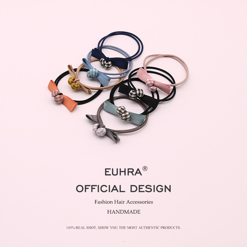 EUHRA 8 Colors Elastic Sweet Style Plaid and Cute Bow Knot For Women Girls Hair Band Kid Children Rubber Band Hair Accessories in Women 39 s Hair Accessories from Apparel Accessories