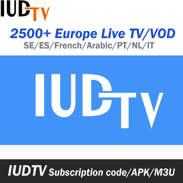 1 Year IUDTV Swedish Spanish Dutch French Arabic IPTV Subscription UK Poland Greek Indian African European TV Package