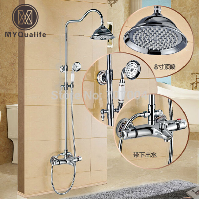 Luxury 8 Brass Rainfall Shower Set Faucet with Handshower Thermostatic Bathroom Tub Shower Mixer Tap