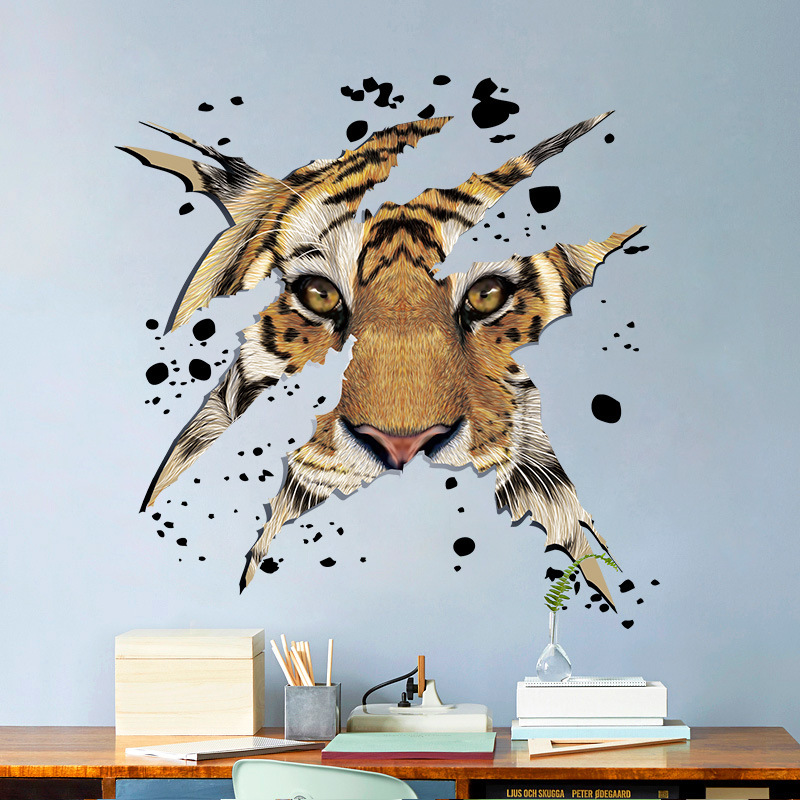 US $2.41 41% di SCONTO|% Animali Zoo 3D Mighty Tiger head Wall Sticker  Camera Da Letto soggiorno DIY Wall Art Decalcomanie Adesivi sfondo Home  Decor ...