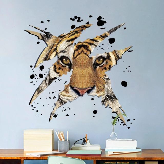 Animals Zoo 3D Mighty Tiger head Wall Sticker Bedroom living room ...