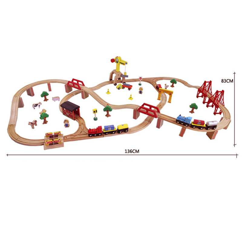 Best Birthday Gift 100pcs/set Wooden Tomas railway train track toys with a electric train head for baby
