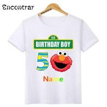 цена на Kids Birthday Boy Number and Name Print O-Neck T Shirt Tees Summer Sesame Street Tops Children T-Shirt Boy/Girl Clothing,HKP3083