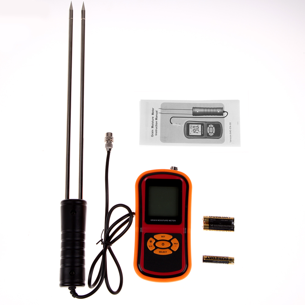 Moisture Tester Probe for Food Rice Corn Wheat Grain Moisture Temperature Digital LCD Hygrometer Thermometer Humidity Meter digital multi grain moisture meter tester rice wheat rye peas corn oat 6 30% tk25g