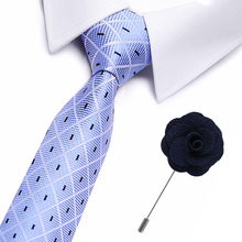 Fashion Mens Colourful Tie Silk  Formal Ties Necktie Narrow Slim Skinny Cravate 7.5cm Neckties free brooches
