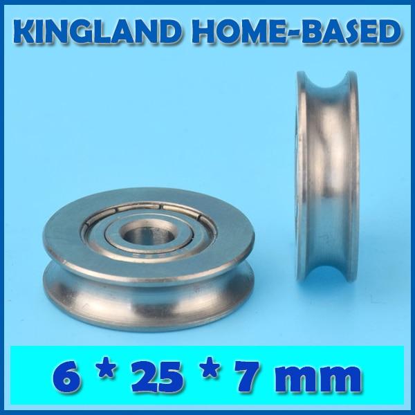 10Pcs 6*25*7 Stainless Steel Bearing U Groove Roller Stainless Groove Sliding Wheel Roller For DIY Toy Testing Maintain Repair
