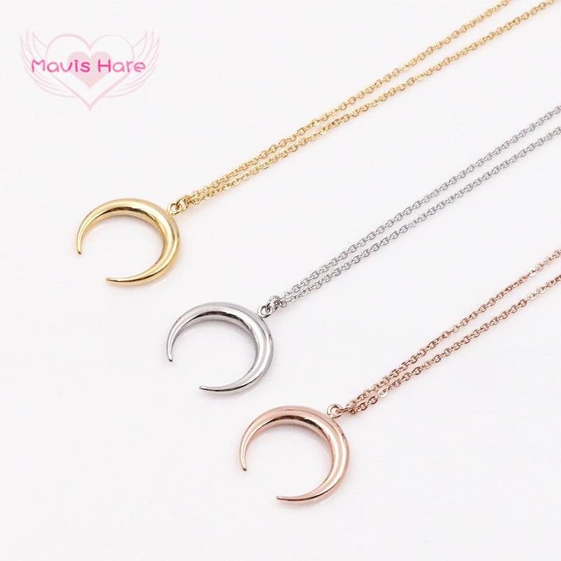 Mavis liebre 20mm Luna de acero inoxidable herradura colgante collar de cadena con 45 cm + 5 cm enlace cadena para regalo de Navidad