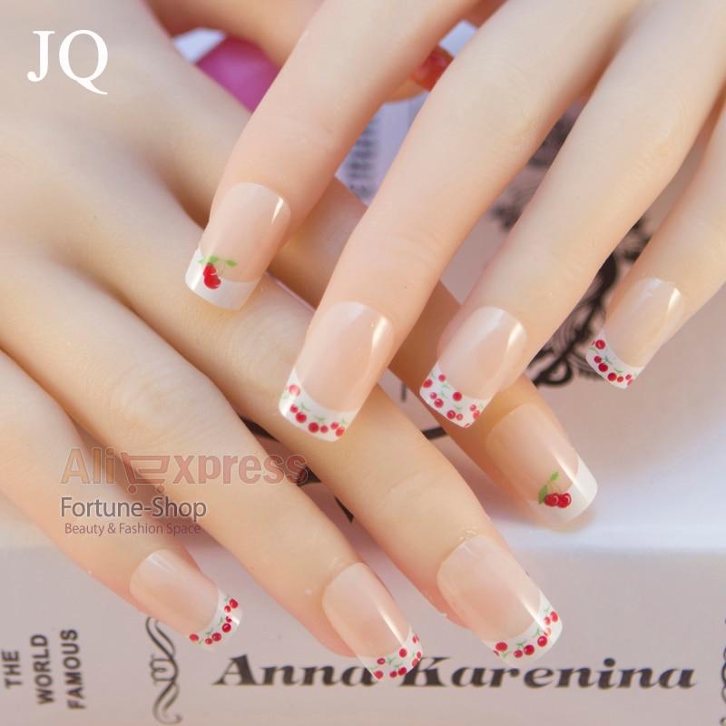 JQ 24pcs/set Acrylic Nail Fake Nail False Nails French Nail tips ...