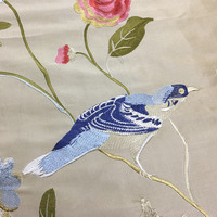 Deluxe Duppion Silk Polyester Blend Embroidery Chinese Style Birds Leaves Silk Fabric Pillow DIY Decorative Cloth 55 width
