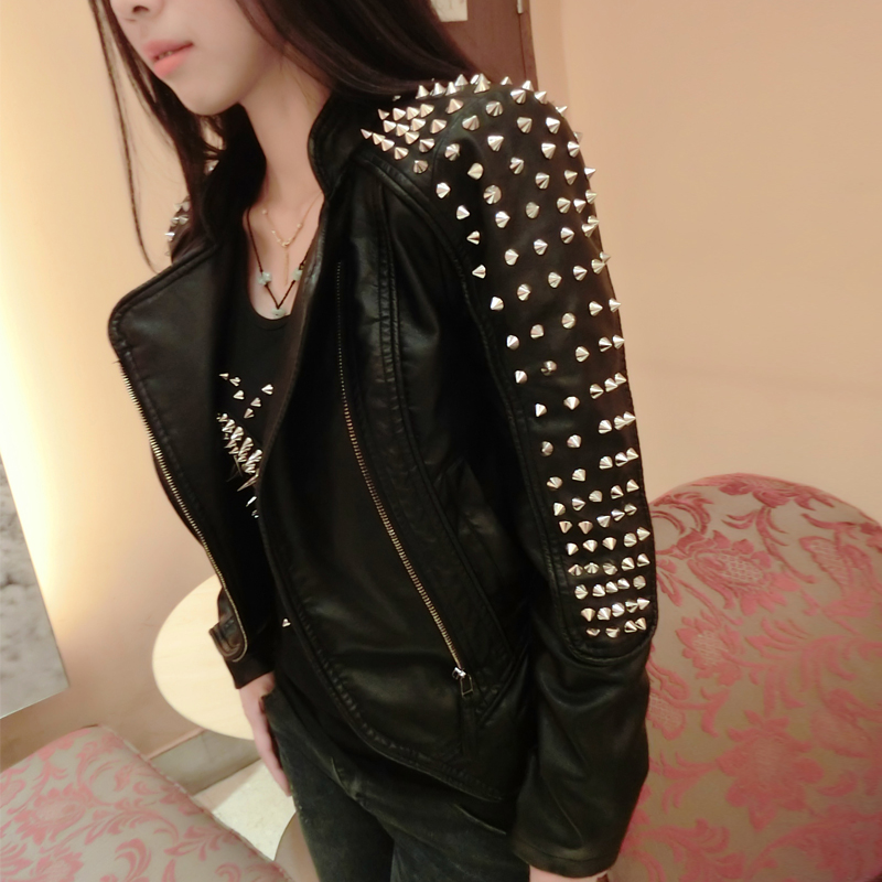 2017 Autumn Winter Fashion Women Rivets Motorcycle Pu Faux Leather Spike Studded Jacket Veste Femme Cuir Rock Short Jackets D129