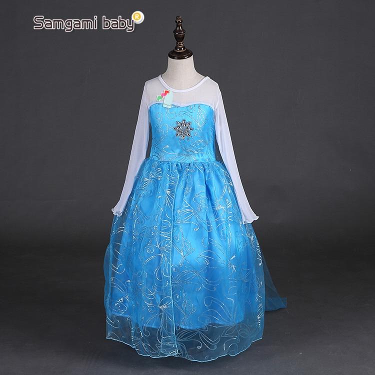 2016 new girls dress Elsa Dress Custom Cosplay Summer Anna Girl Dresses Princess Elsa Costume for Children or dress+crown 2piece
